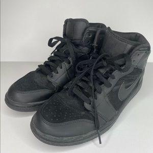 NIKE AIR JORDAN 1 PHAT MID BLACK/BLACK Leather